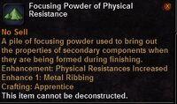 Focusing powder physical resistance