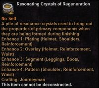 Resonating crystals regeneration