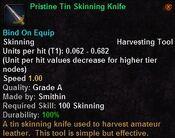 Pristine tin skinning knife