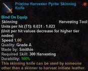 Pristine harvester pyrite skinning knife