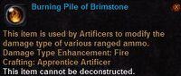 Burning pile of brimestone