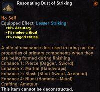 Resonating dust striking