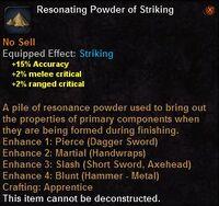 Resonating powder striking
