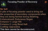 Focusing powder recovery