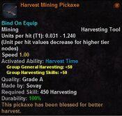 Harvest mining pickaxe