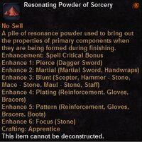 Resonating powder sorcery
