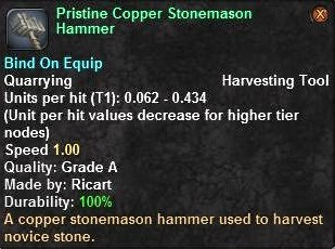 Pristine Copper Stonemason Hammer   Vanguard Saga of Heroes