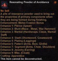 Resonating powder avoidance