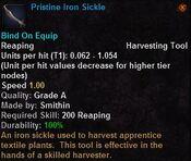 Pristine iron sickle