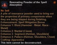 Resonating powder the spell absorption