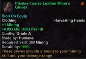 Pristine coarse leather miner's gloves