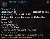 Pristine pyrite axe