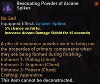 Resonating powder arcane spikes