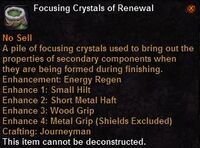 Focusing crystal renewal
