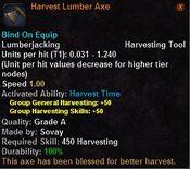 Harvest lumber axe