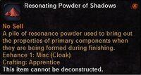 Resonating powder shadows