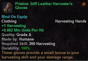 Pristine stiff leather harvester's gloves
