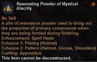 Resonating powder mystical alacrity
