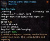 Pristine mithril stonemason hammer