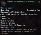 Pristine tin stonemason hammer