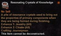 Resonating crystals knowledge