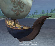Nyi Figurehead on a Blue Qalian Caravel