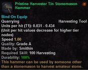 Pristine harveser tin stonemason hammer