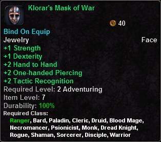 Klorar's Mask of War