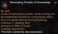 Resonating powder knowledge