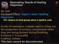 Resonating shards healing dispersion