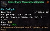 Basic novice stonemason hammer