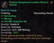 Pristine weathered leather miner's gloves