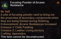 Focusing powder arcane resistance