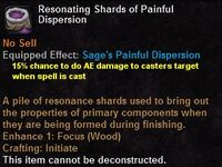Resonating shards painful dispersion