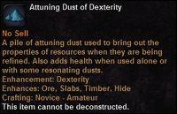 Attuning dust dex