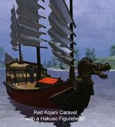 Red Kojani Caravel with a Hakuso Figurehead