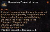 Resonating powder hexes