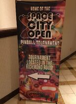 Pinball tournament sign