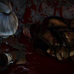 Геральт берет немного крови у мертвого принца