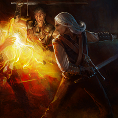 Беренгар помогает Геральту в бою с Азаром Яведом