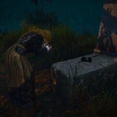 Вивиенна на могиле Гильома