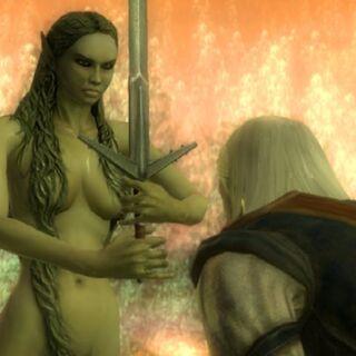 Владычица посвящает Геральта в рыцари