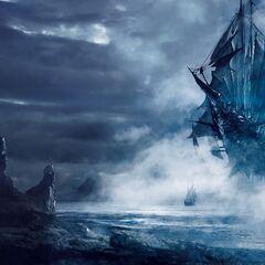 Нагльфар в небе возле берегов Ундвика, официальный арт