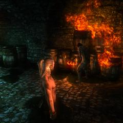 Ариан поджигает бочки с маслом