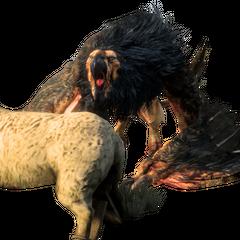 Грифон нападает на чучело овцы