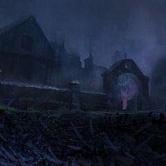 Квартал после восстания, ночью