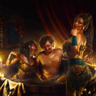 Борх в ванне с Теей и Веей, арт Анастасии Кулаковской