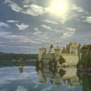 Вид на замок с дамбы