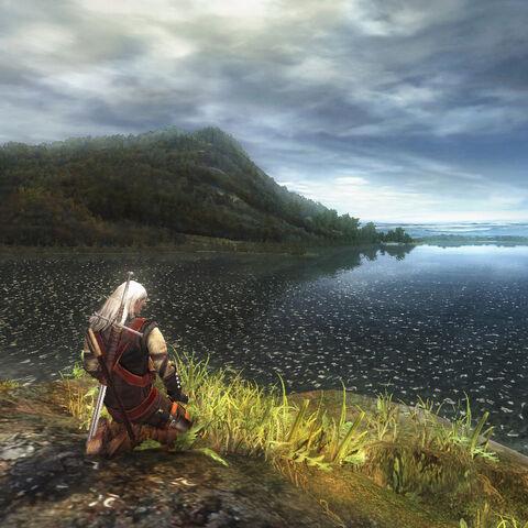 Медетирующий Геральт на фоне озера. Ранний скриншот