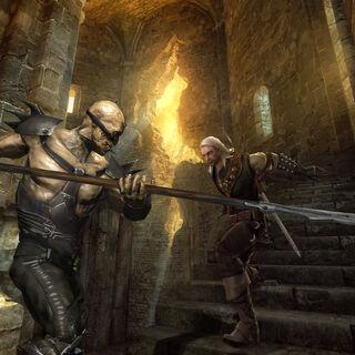 Ранний скриншот битвы Геральта с мутантом
